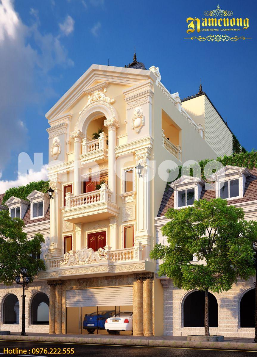 Thiết kế biệt thự tân cổ điển 4 tầng 1 mặt tiền