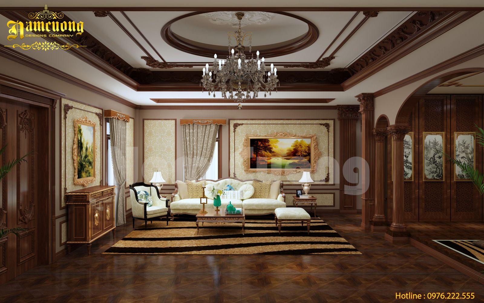 Mang đậm nét truyền thống trong mẫu thiết kế nội thất biệt thự tân cổ điển