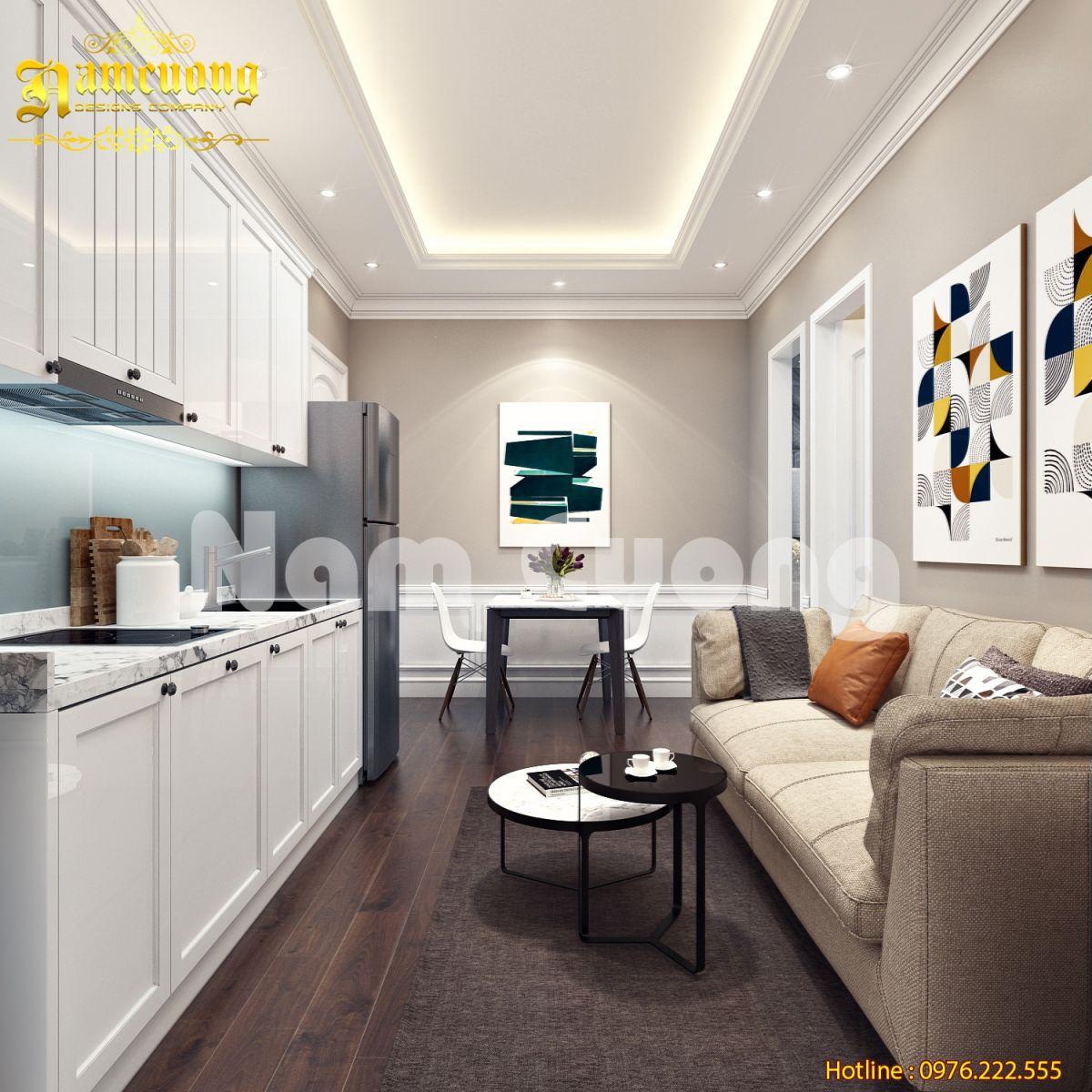Ý tưởng cho không gian phòng khách liền bếp chung cư