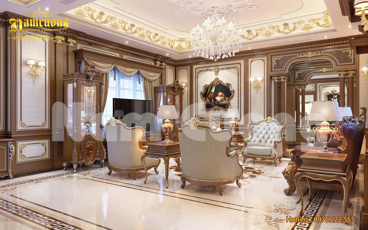 Nội thất phòng khách bếp cho biệt thự Pháp tại Hà Nội