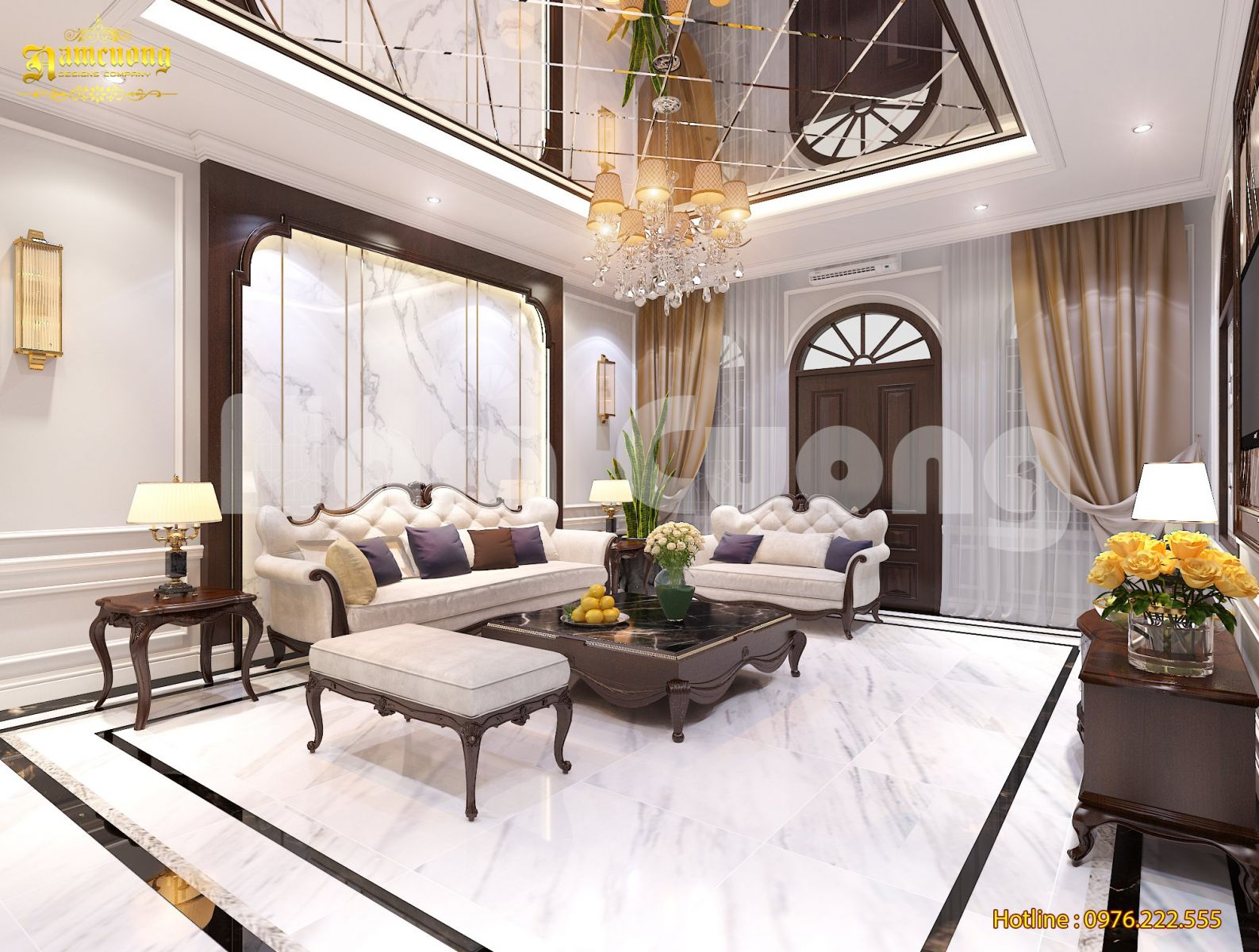 Thiết kế nội thất biệt thự Pháp 5 tầng tại Hải Phòng
