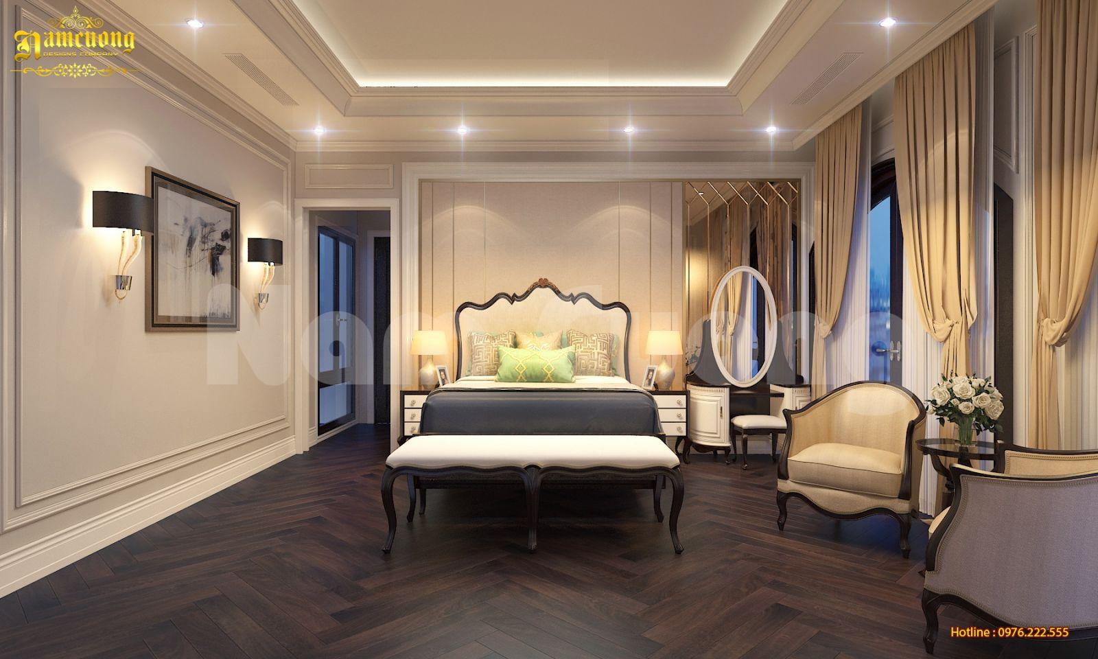 Thiết kế nội thất phòng ngủ tân cổ điển sang trọng