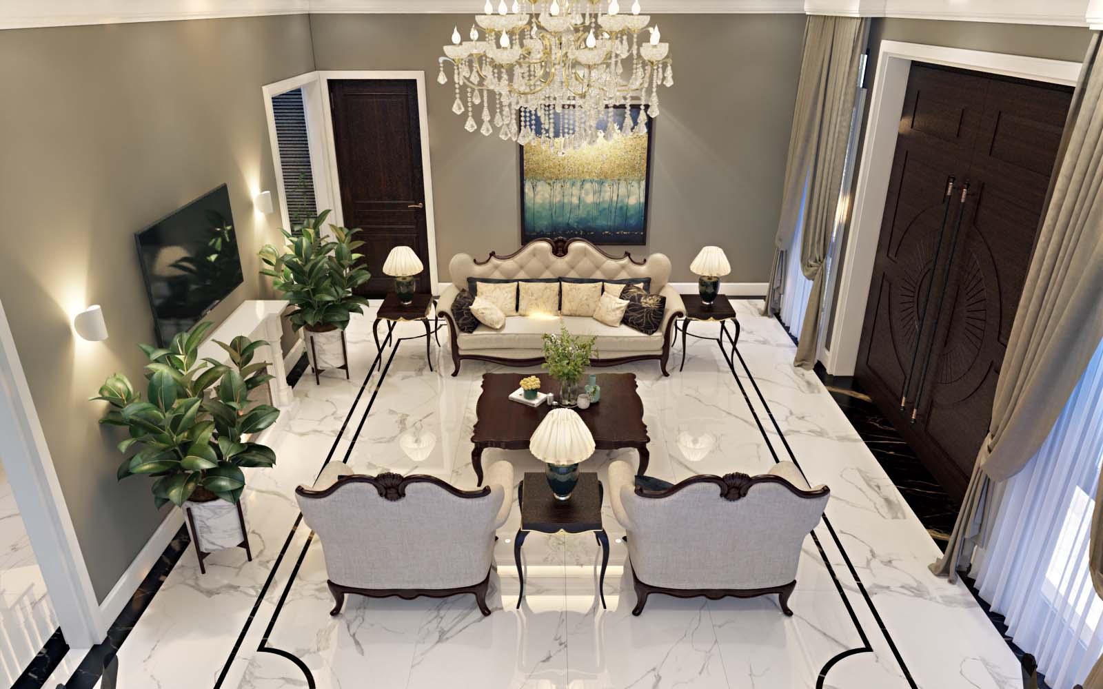 Tư vấn thiết kế nội thất khách bếp tân cổ điển cho biệt thự 3 tầng