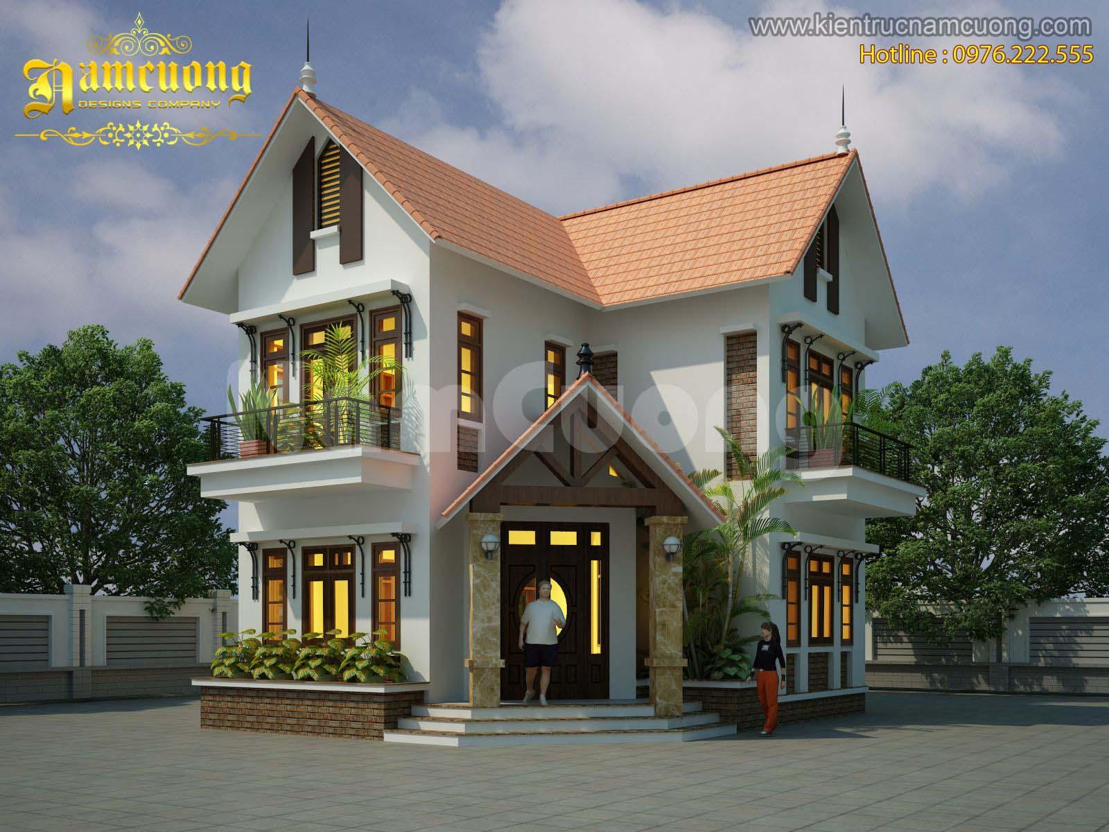 Thiết kế biệt thự tân cổ điển tại Hải Phòng cao 2 tầng mặt tiền 8m - BTCD 005
