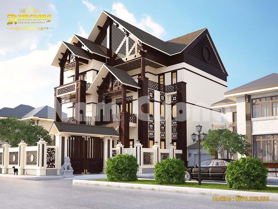 Thiết kế biệt thự tân cổ điển bằng gỗ 3 tầng sang trọng