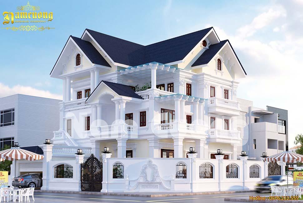 Thiết kế biệt thự tân cổ điển có gara 3 tầng đẹp