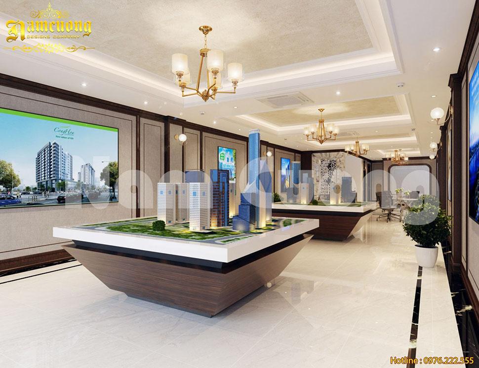 Thiết kế nội thất tòa nhà làm việc công ty bất động sản