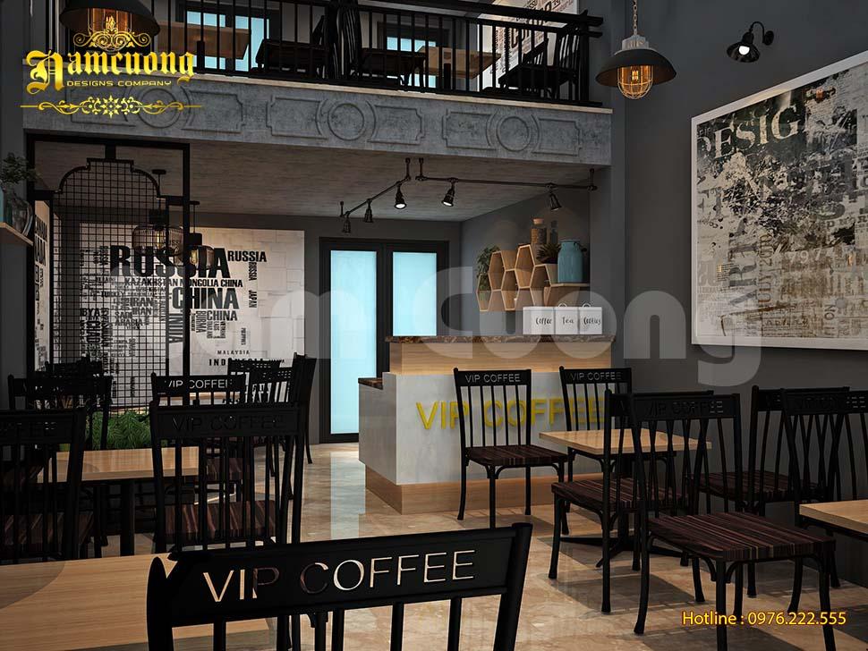 Mẫu thiết kế quán cafe có gác lửng