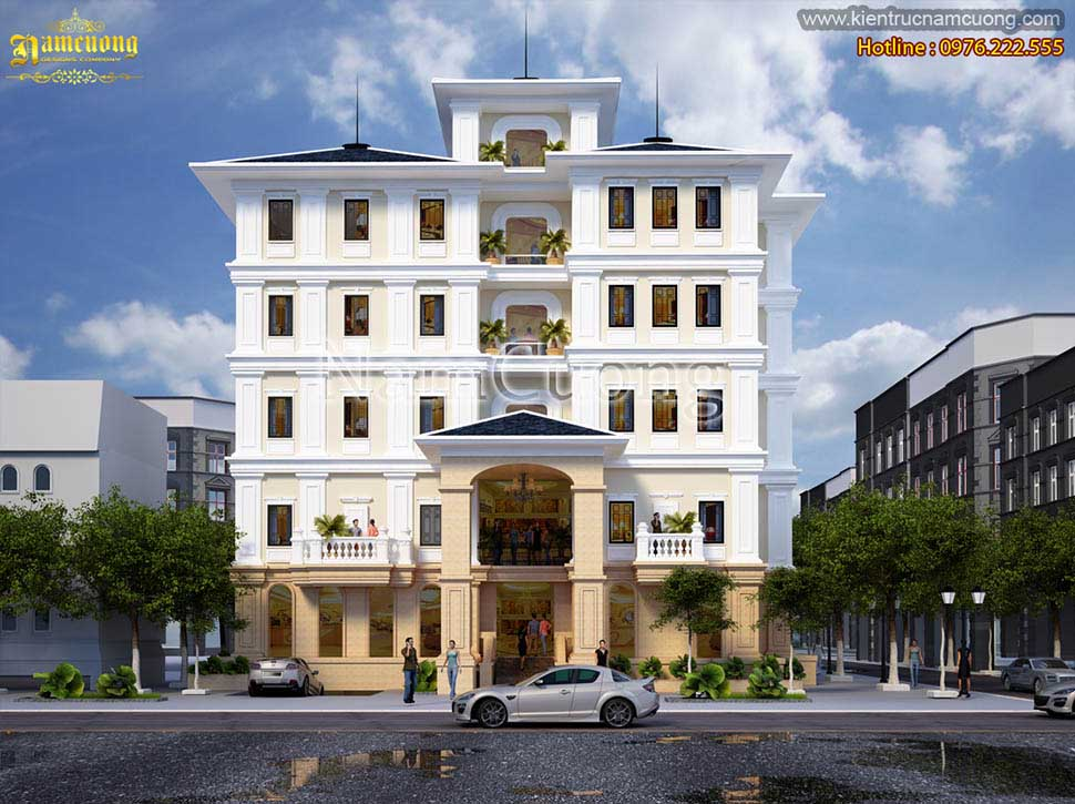Mẫu thiết kế khách sạn 5 tầng mái thái hoành tráng