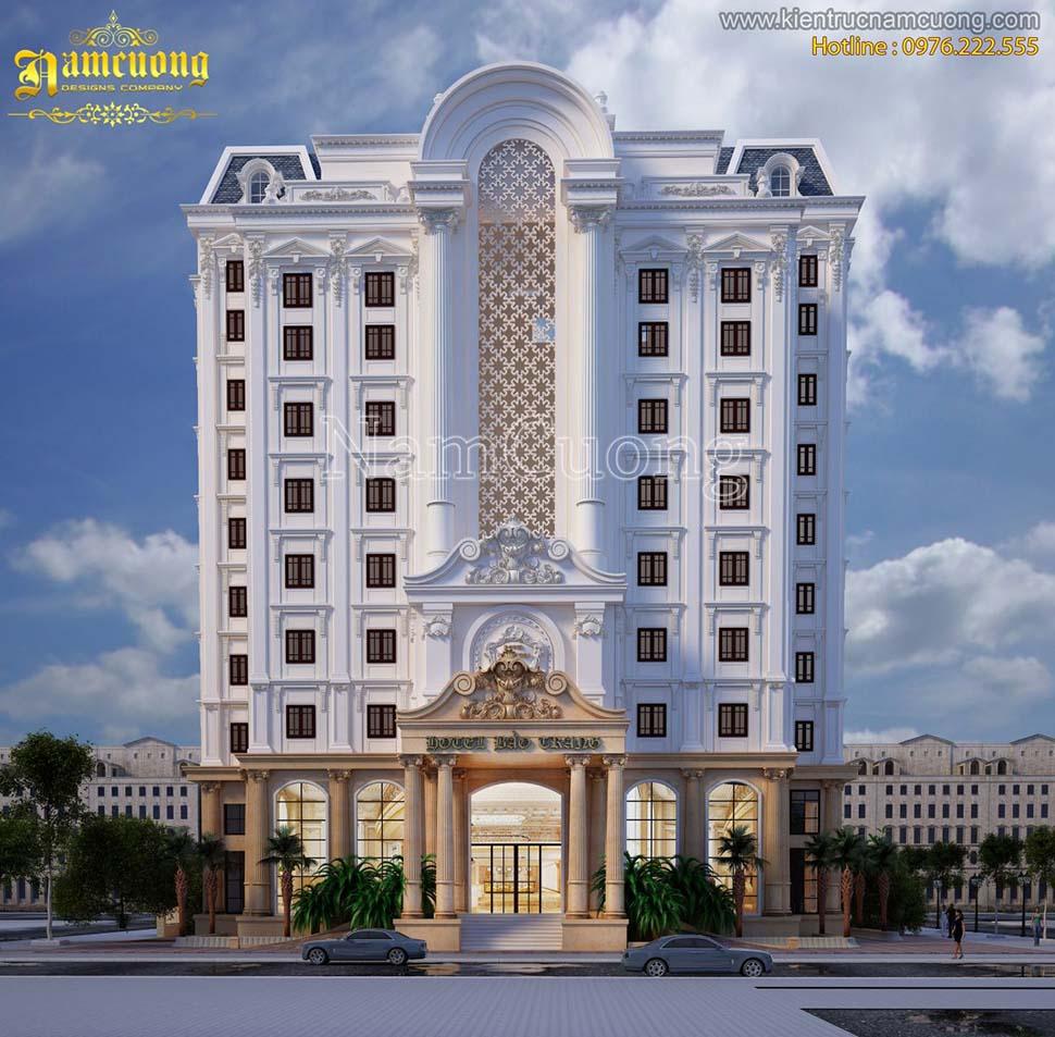 Thiết kế khách sạn 10 tầng kiến trúc Pháp đẹp tại Sài Gòn - KSCD 003
