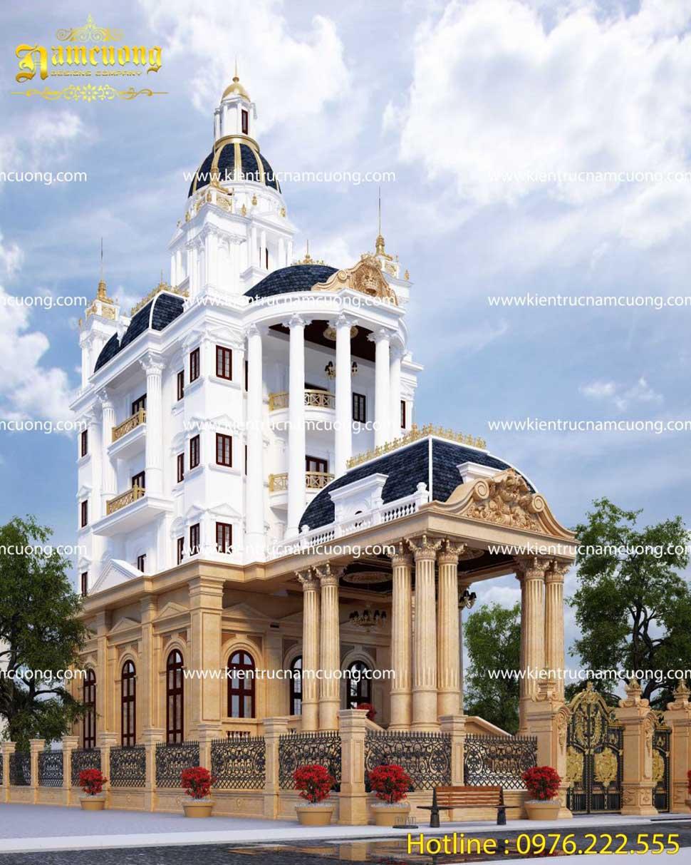 Mẫu thiết kế khách sạn hoành tráng kiến trúc lâu đài Pháp tại Hải Phòng - KSCD 006
