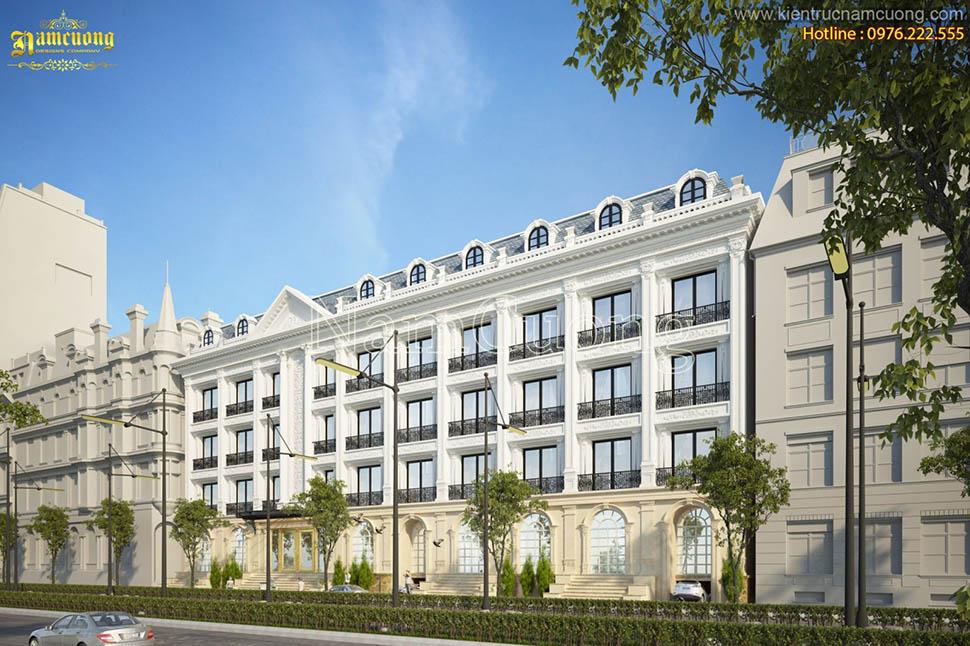 Mẫu thiết kế khách sạn sang trọng phong cách kiến trúc cổ điển Pháp - KSCD 007