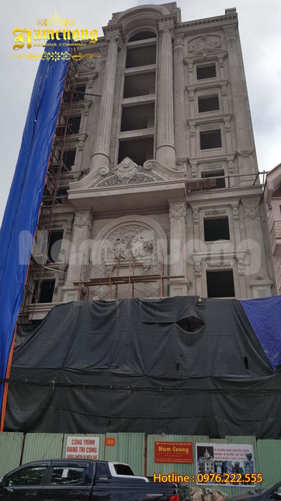 Hình ảnh thực tế thi công công trình khách sạn tân cổ điển tại Lạng Sơn