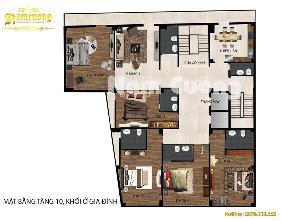 Mặt bằng nội thất 3D của khách sạn cổ điển 11 tầng tại Lạng Sơn