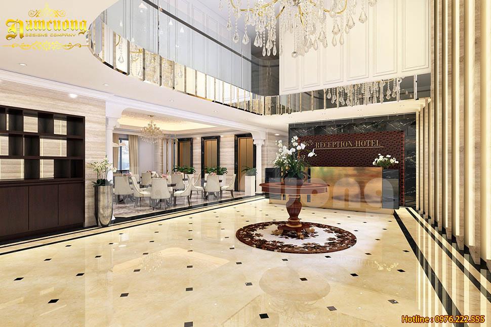 Thiết kế nội thất sảnh khách sạn tráng lệ trong sắc vàng