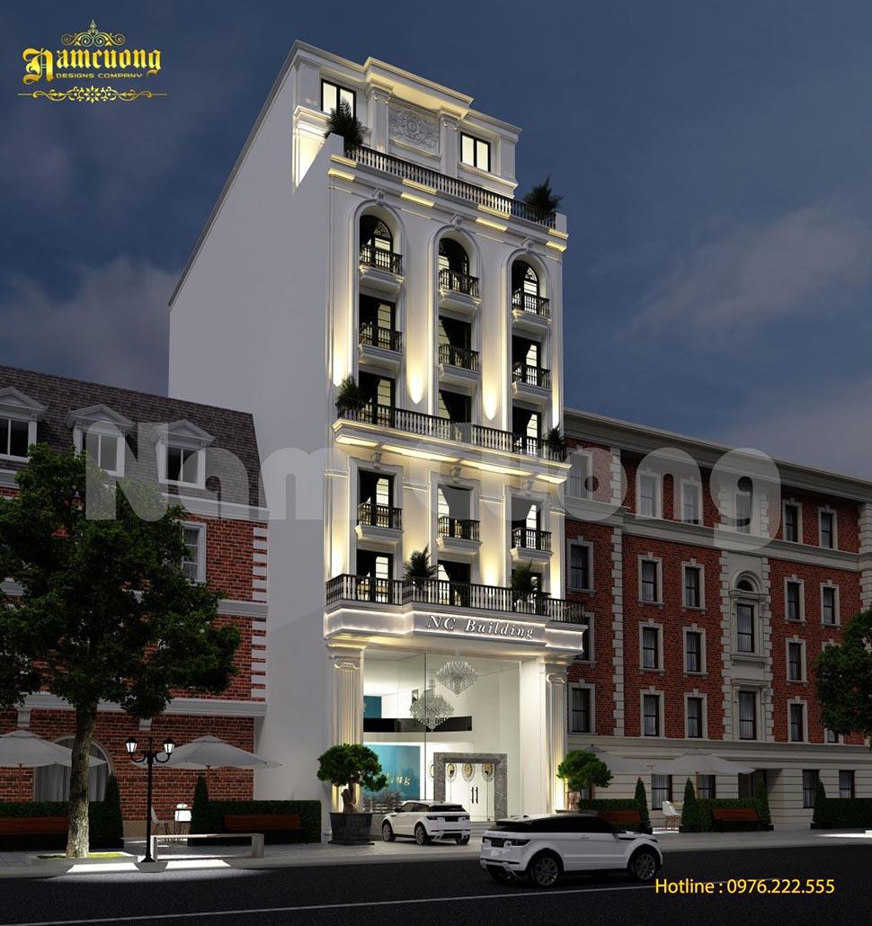 Thiết kế khách sạn 9 tầng phong cách tân cổ điển