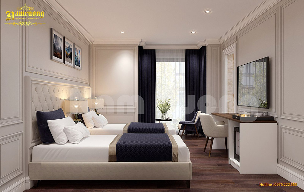 Thiết kế nội thất phòng ngủ đôi khách sạn tân cổ điển