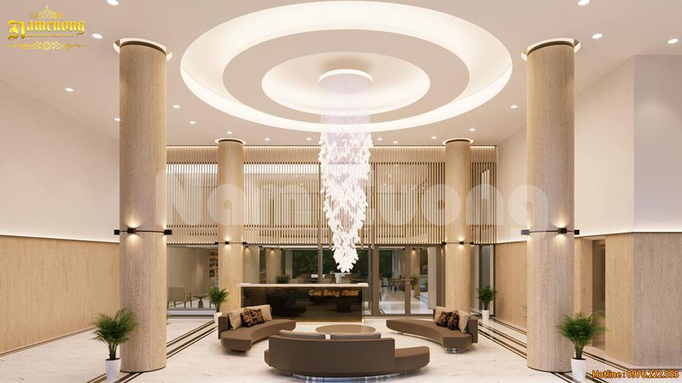 Thiết kế nội thất khách sạn khu vực sảnh và quầy bar tại Cao Bằng