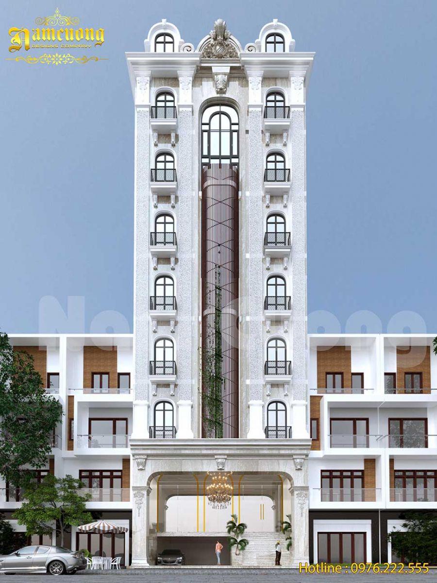 Chiêm ngưỡng mẫu thiết kế khách sạn 7 tầng có tầng hầm đẹp