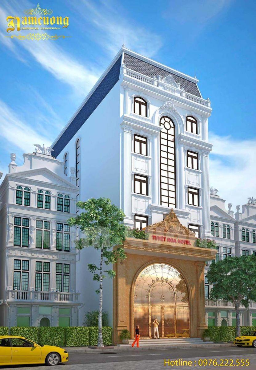 Mẫu thiết kế khách sạn mặt tiền 8m siêu đẹp tại Quảng Ninh