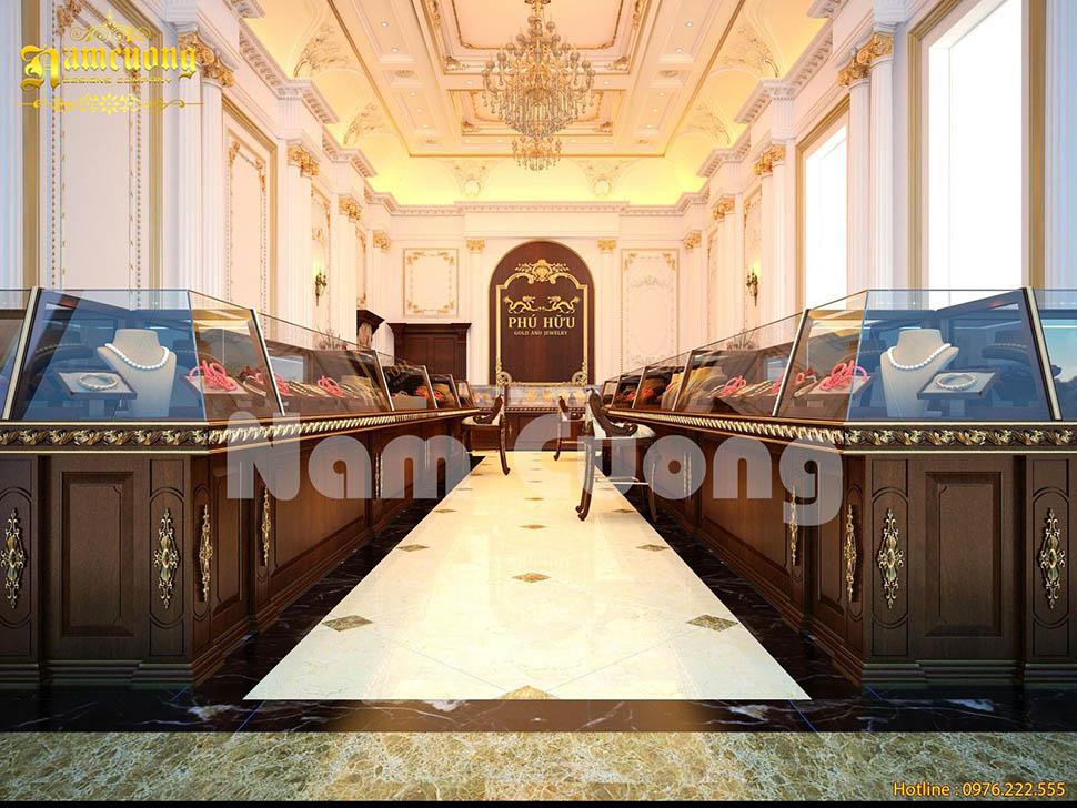 Đẳng cấp và sang trọng trong phương án thiết kế nội thất tiệm vàng tại Nghệ An