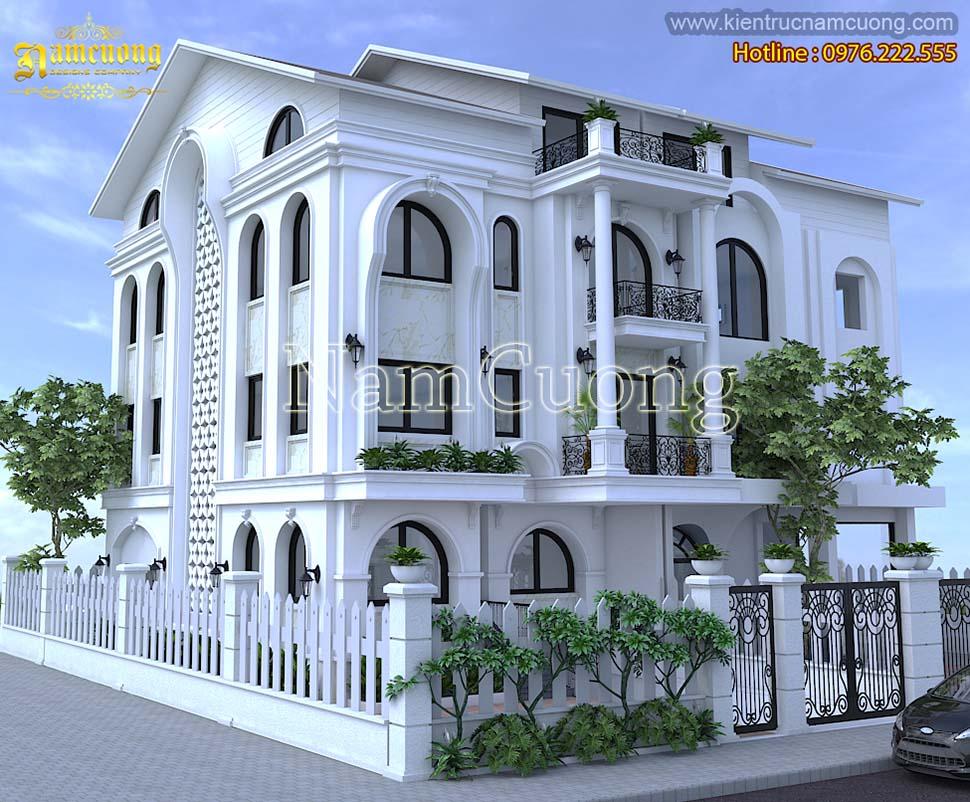 Thiết kế biệt thự 3 tầng 1 tum phong cách tân cổ điển ấn tượng