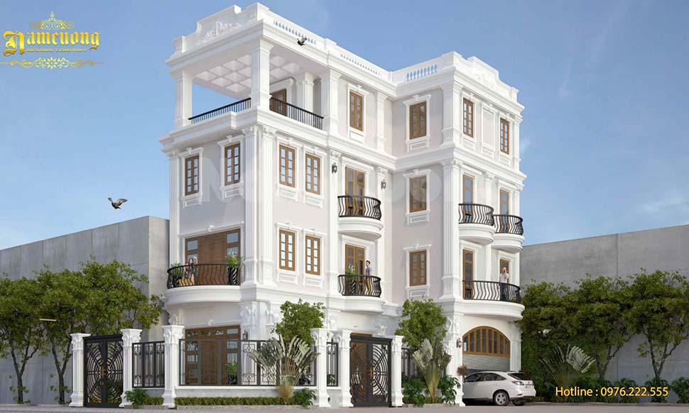 Mẫu thiết kế biệt thự 4 tầng có gara đẹp phong cách tân cổ điển