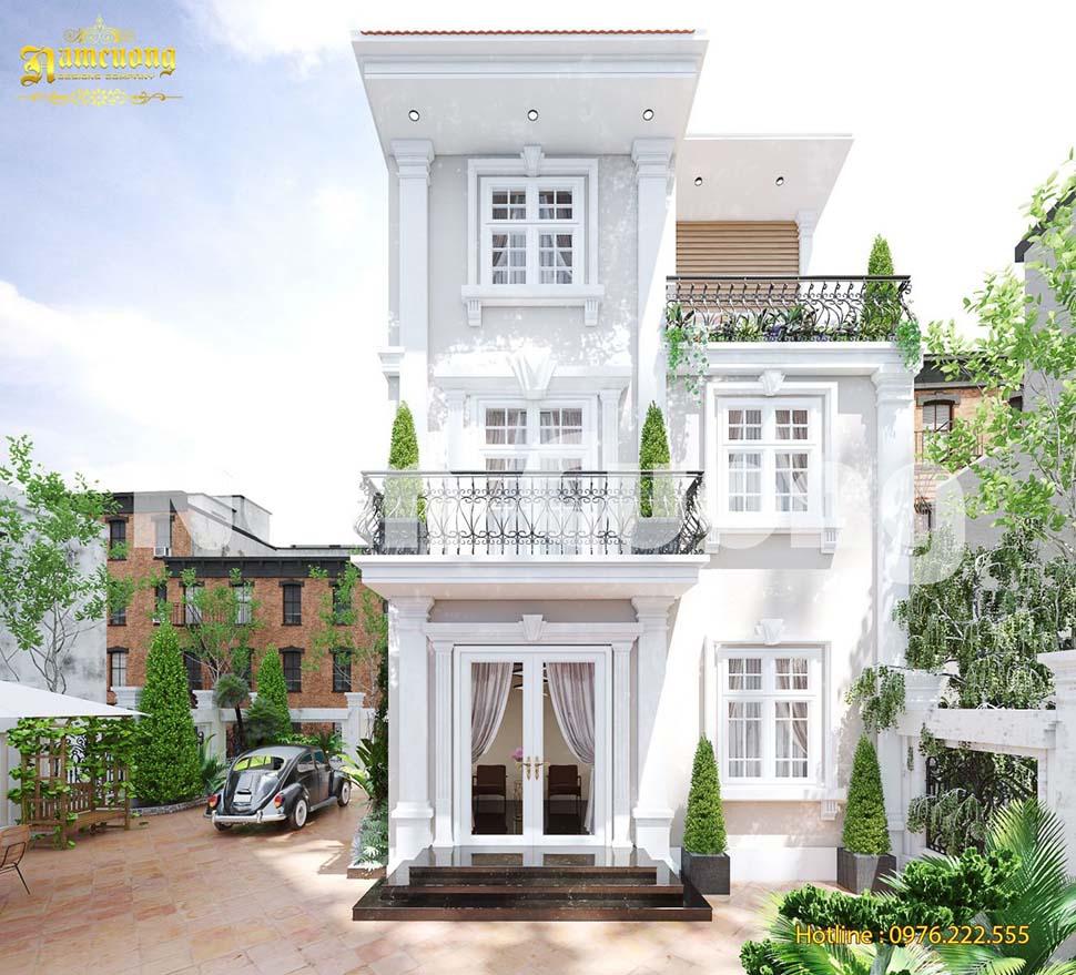 Nhẹ nhàng, tinh tế với mẫu biệt thự tân cổ điển 3 tầng nhỏ xinh