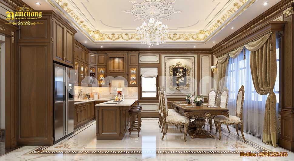 Mẫu nội thất biệt thự Pháp khu vực khách bếp sang trọng