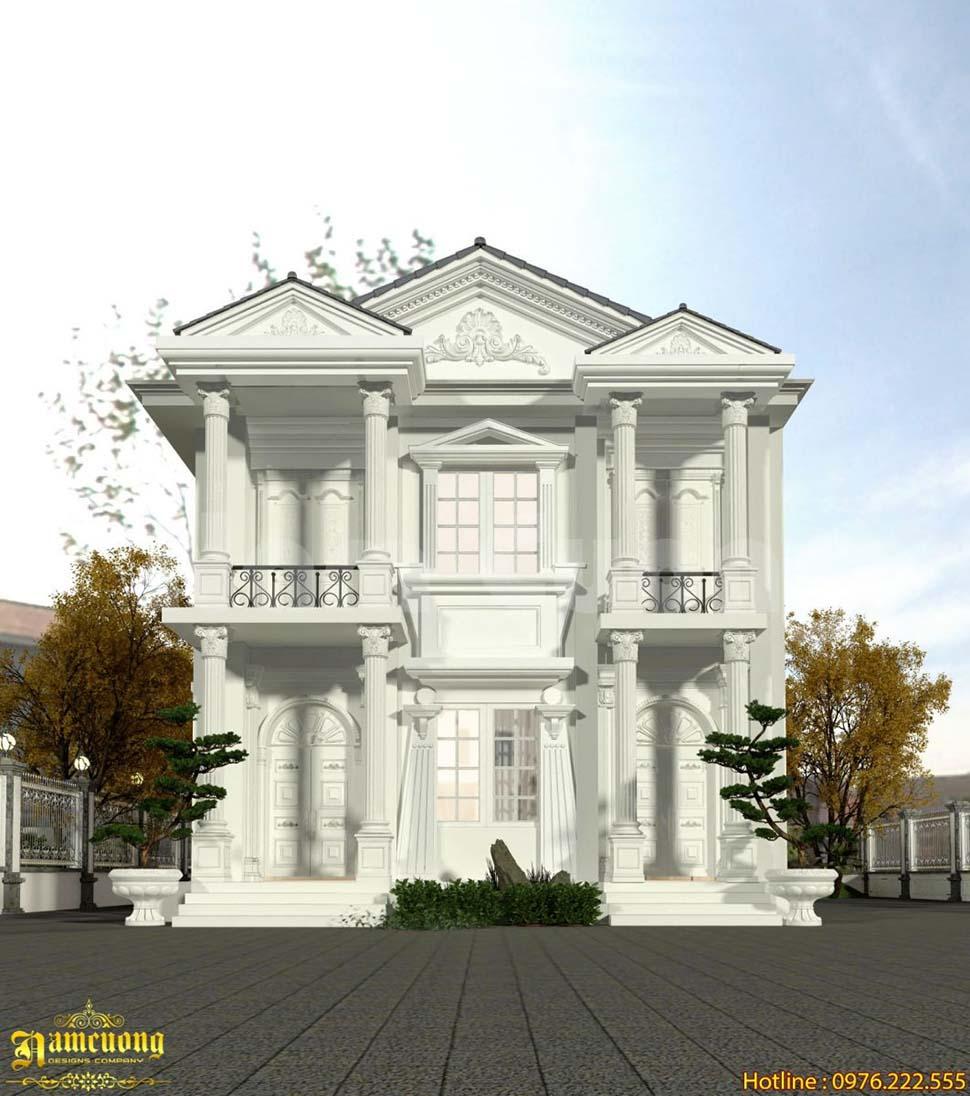 Thiết kế nhà 2 tầng nhỏ đẹp tân cổ điển