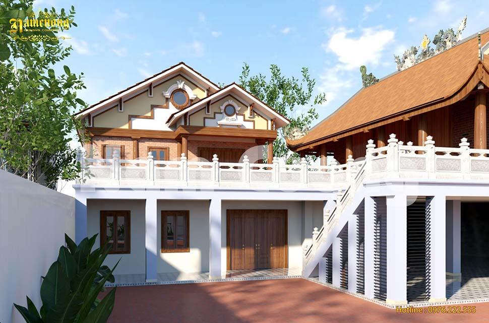 Thiết kế nhà 2 tầng mái ngói ở nông thôn đẹp