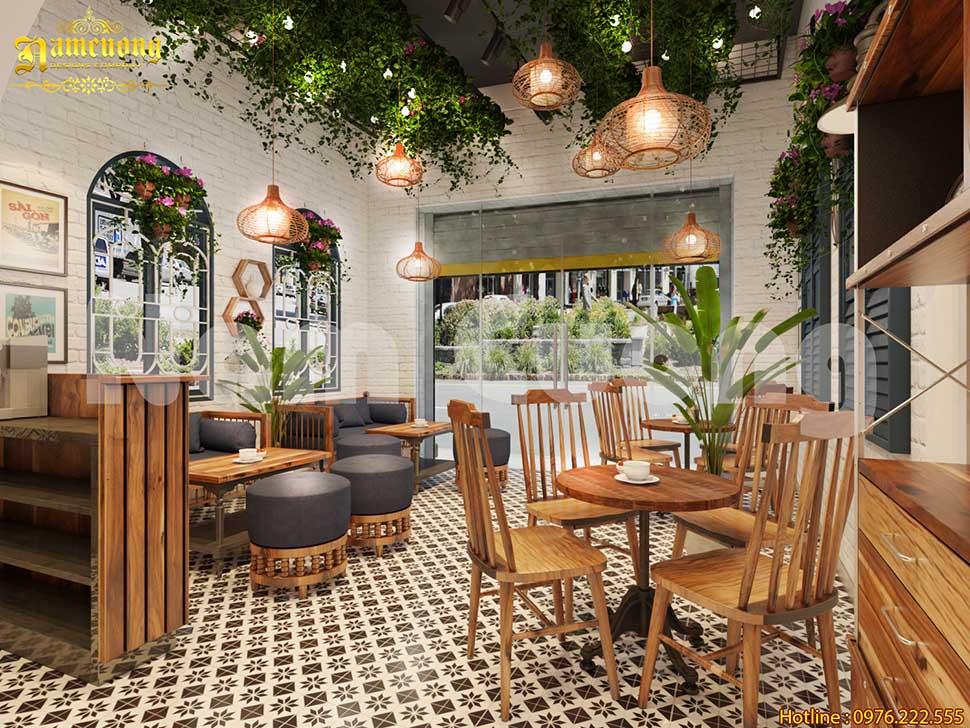 Không gian xanh của quán cafe bằng gỗ đẹp tại Hải Phòng