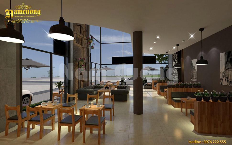 Phương án 2 trong mẫu thiết kế quán cà phê 2 tầng