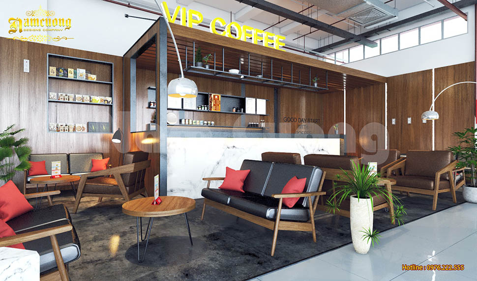 Mẫu thiết kế nội thất quán cafe trong trung tâm thương mại