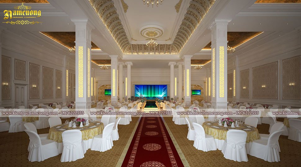 Thiết kế nội thất phong cách cổ điển cho nhà hàng tiệc cưới tại Hòa Bình