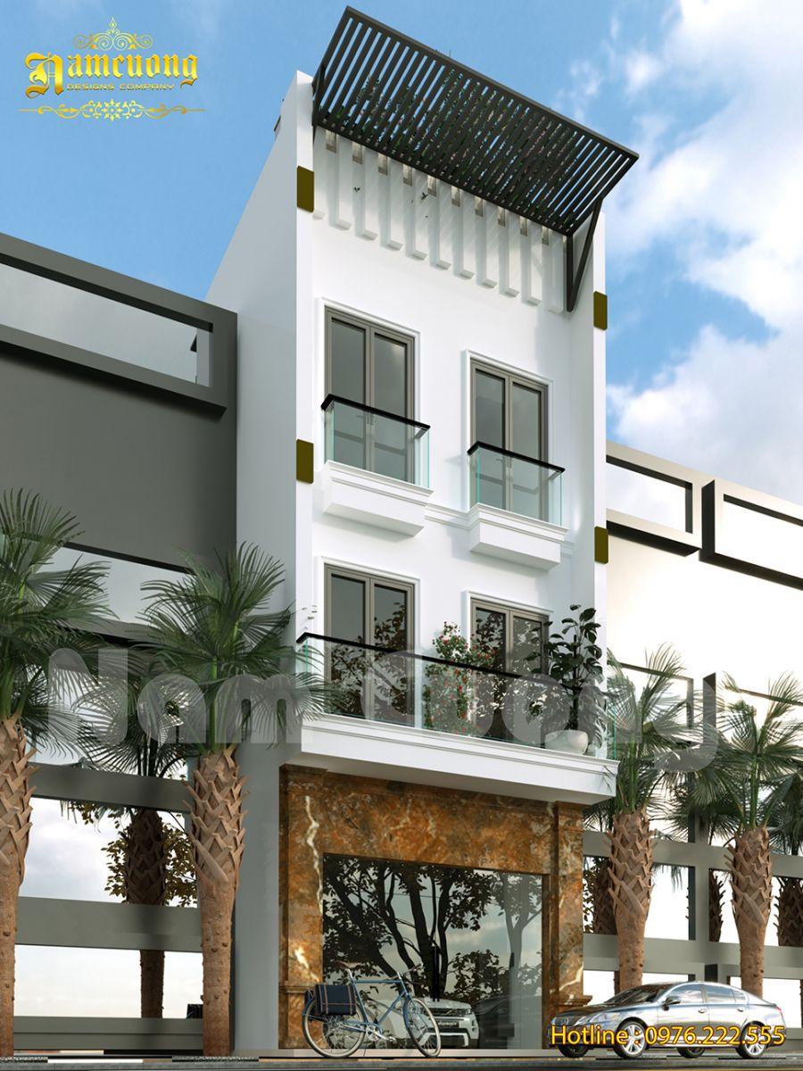 Phối cảnh nhà phố 3 tầng có sân thượng tối ưu diện tích