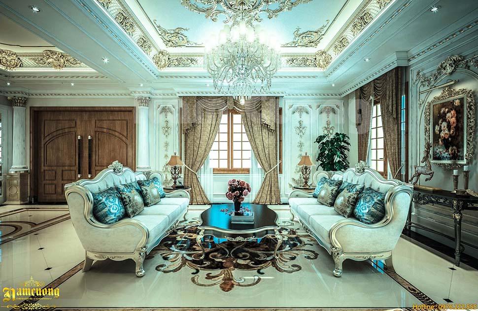 Thiết kế nội thất 3 tầng 2 mặt tiền tân cổ điển sang trọng