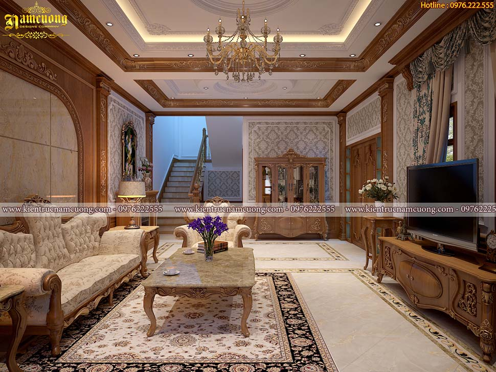 Thiết kế nội thất biệt thự mái thái tân cổ điển