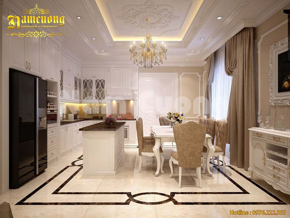 Thiết kế nội thất biệt thự màu trắng tinh tế