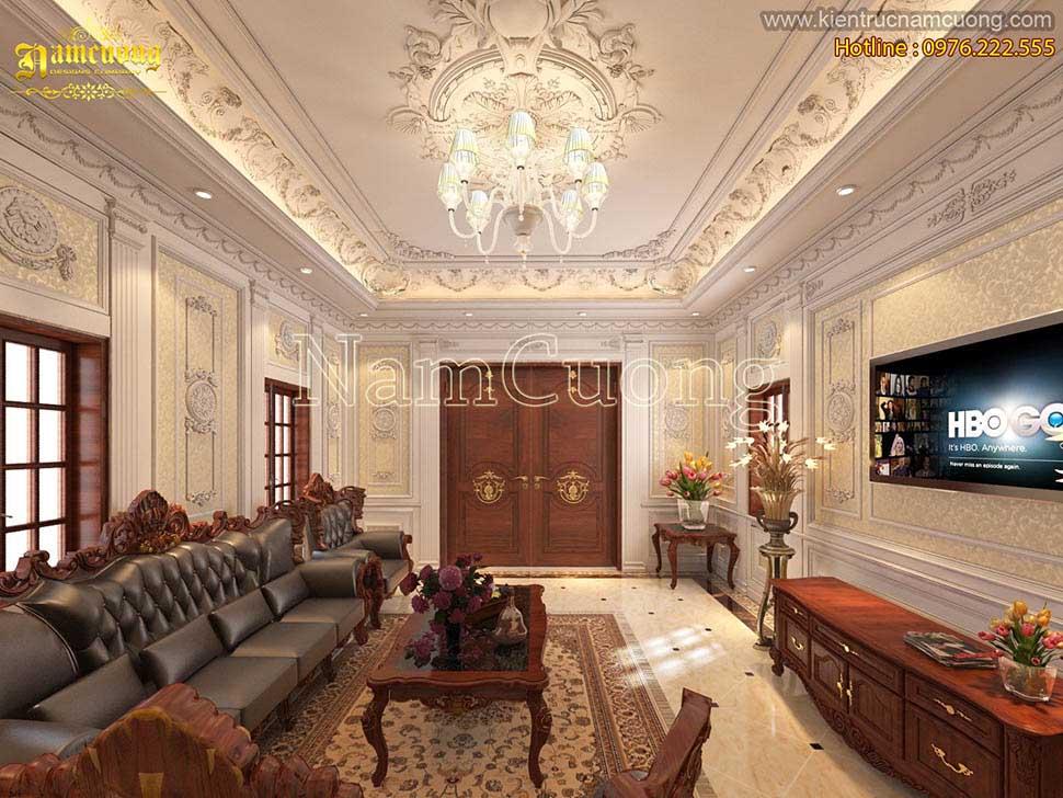 Mẫu nội thất cổ điển phòng khách 35m2 cực đẹp