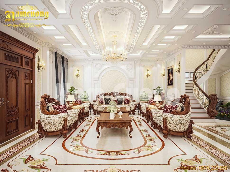 Chiêm ngưỡng mẫu nội thất khách và bếp tân cổ điển hoành tráng