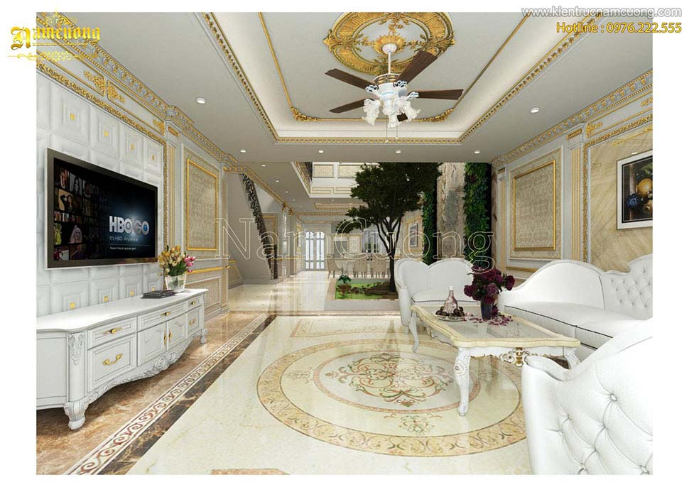 Mẫu nội thất màu trắng tân cổ điển cho biệt thự
