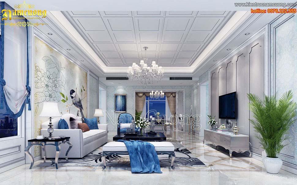 Ấn tượng mẫu thiết kế nội thất phòng khách châu âu đẹp