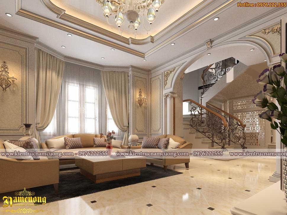 Không gian nội thất phòng khách và bếp tân cổ điển