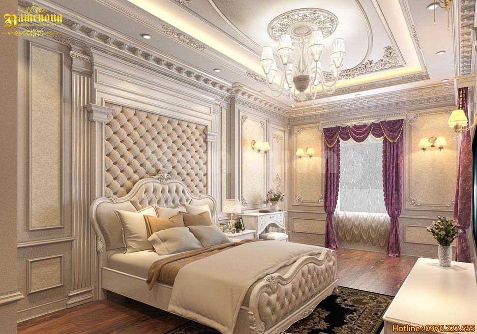 Mẫu thiết kế nội thất phòng ngủ biệt thự tân cổ điển đẹp