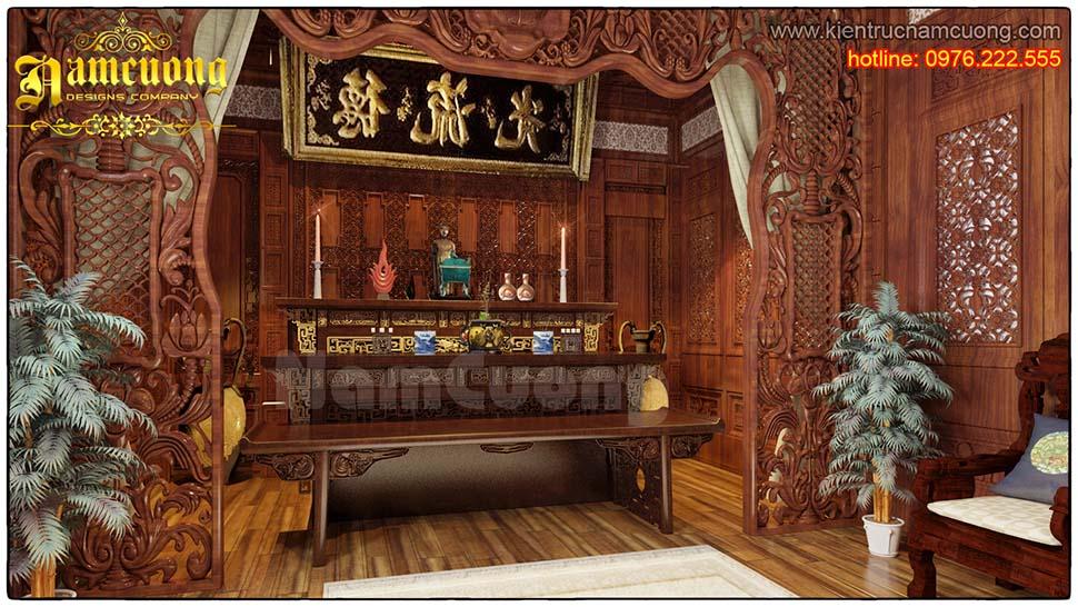 Mẫu thiết kế nội thất phòng thờ đẹp, sang trọng