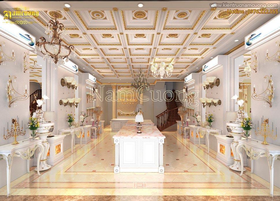 Thiết kế nội thất showroom theo phong cách tân cổ điển