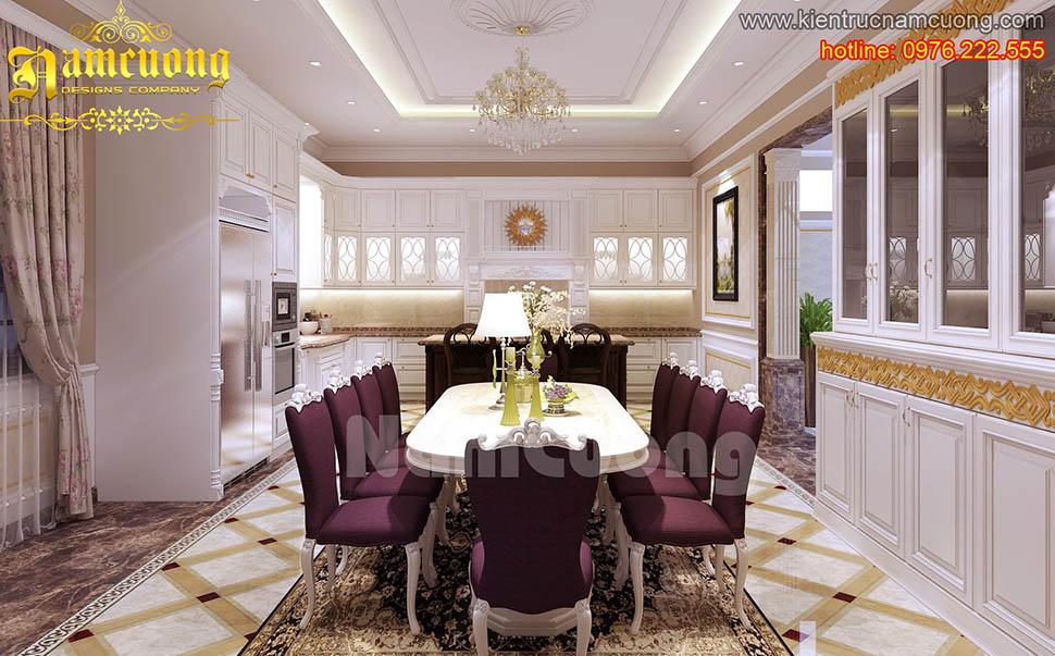 Thiết kế nội thất phòng ăn tân cổ điển ấn tượng tại Quảng Ninh - NTBTCD 020