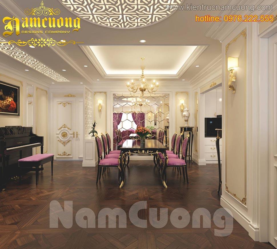 Thiết kế nội thất phòng ăn tân cổ điển sang trọng, ấn tượng tại Quảng Ninh - NTBTCD 041