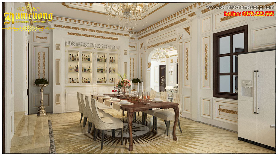 Thiết kế nội thất phòng ăn tân cổ điển đẹp, ấn tượng tại Hải Phòng - NTBTCD 043